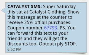 SMS MARKETING - RETAIL EXAMPLE